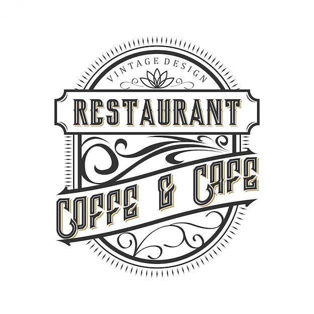 Logotipo vintage para comida e bebida do restaurante Vetor Premium