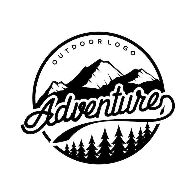 Logotipo vintage para exterior com elementos de montanha Vetor Premium