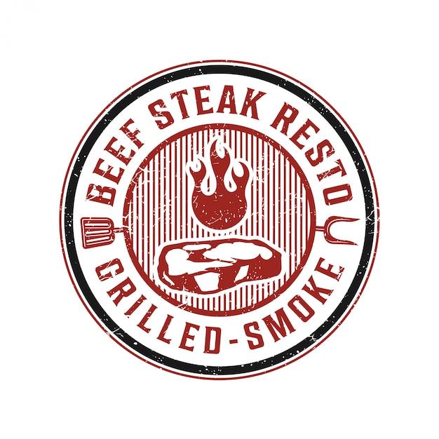 Logotipo vintage para restaurante de bife Vetor Premium