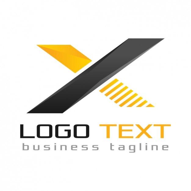 Logotipo x letra, cores pretas e amarelas Vetor grátis