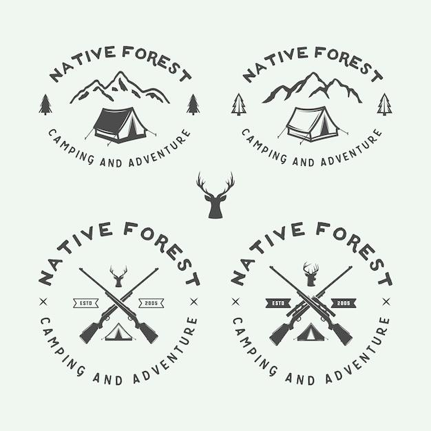 Logotipos ao ar livre de acampamento Vetor Premium