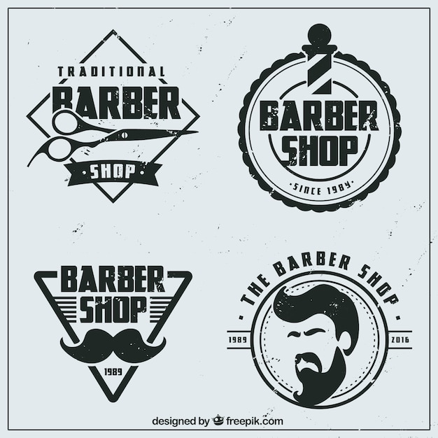 Logotipos barbearia plana vintage baixar vetores gr tis for Simbolo barbiere