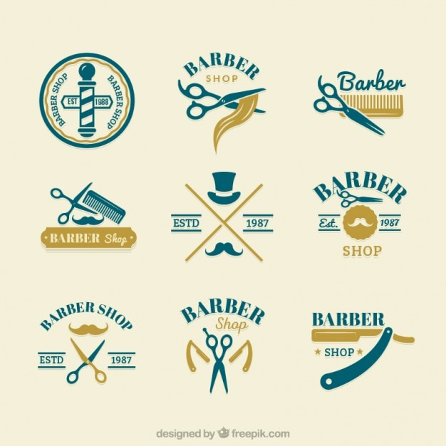 Logotipos bonito barbeiro desenhados mão Vetor grátis