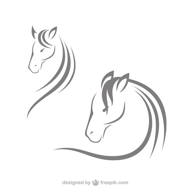 Logotipos cabeça de cavalo Vetor Premium