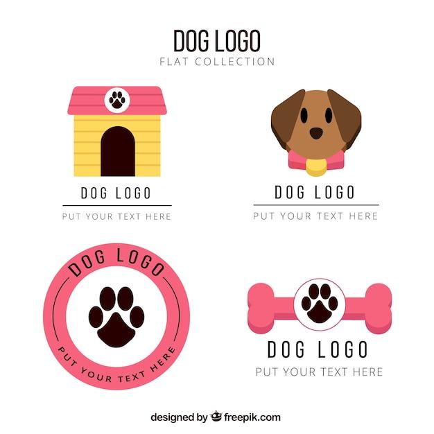 Logotipos cão plana com detalhes rosa Vetor grátis