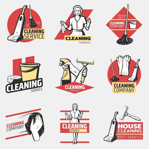 Logotipos coloridos de empresa de limpeza Vetor grátis