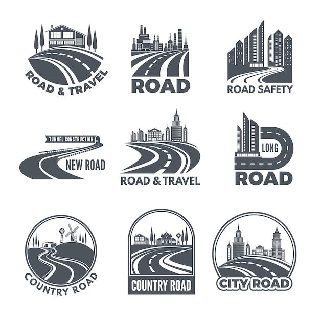 Logotipos com caminhos curvos e lugar para o seu texto Vetor Premium