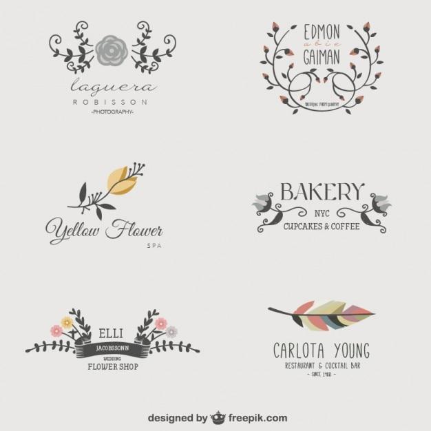 Logotipos comerciais florais Vetor grátis
