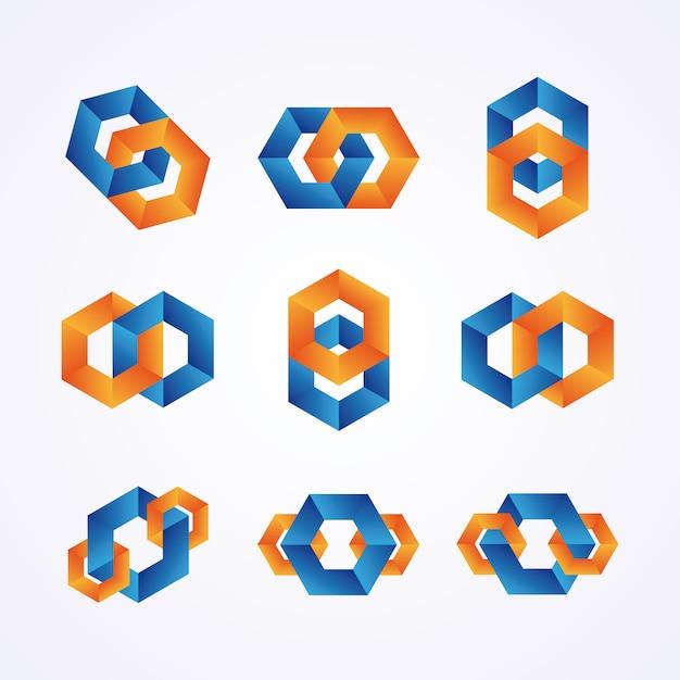 Logotipos da cadeia criativa. Vetor Premium
