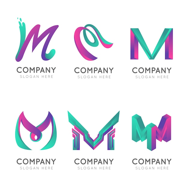 Logotipos da letra m maiúscula da empresa de gradiente Vetor Premium