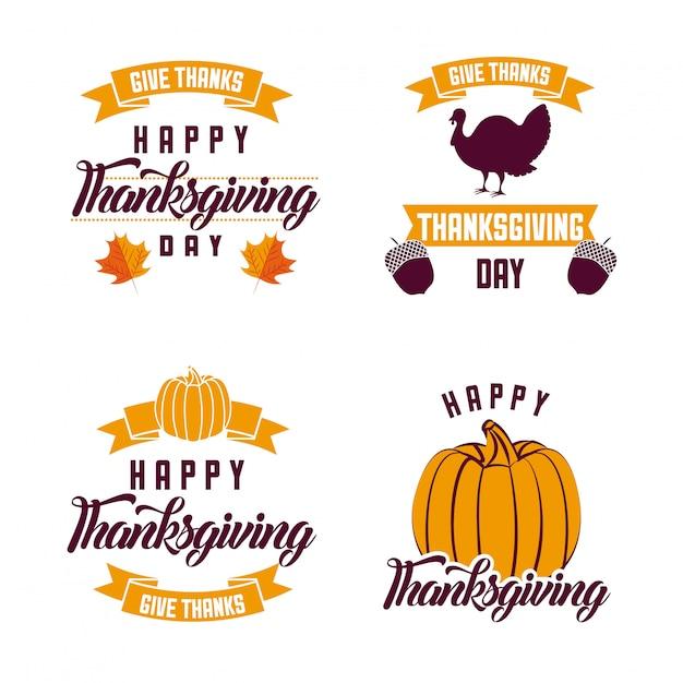 Logotipos de ação de graças feliz Vetor grátis