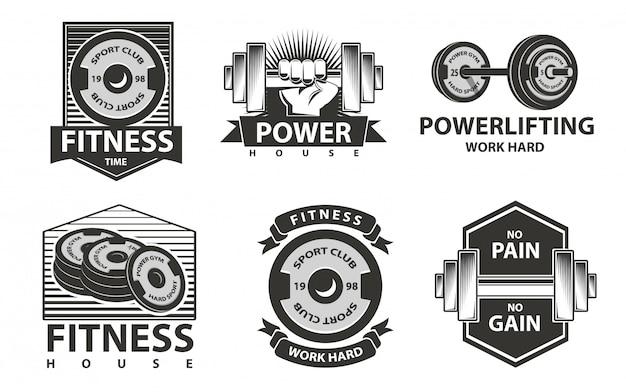 Logotipos de aptidão definidos no estilo monocromático Vetor Premium