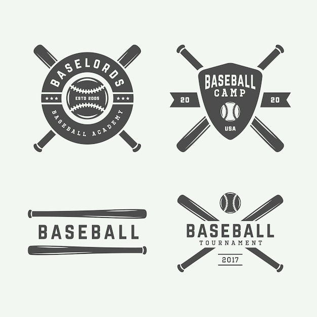 Logotipos de beisebol Vetor Premium