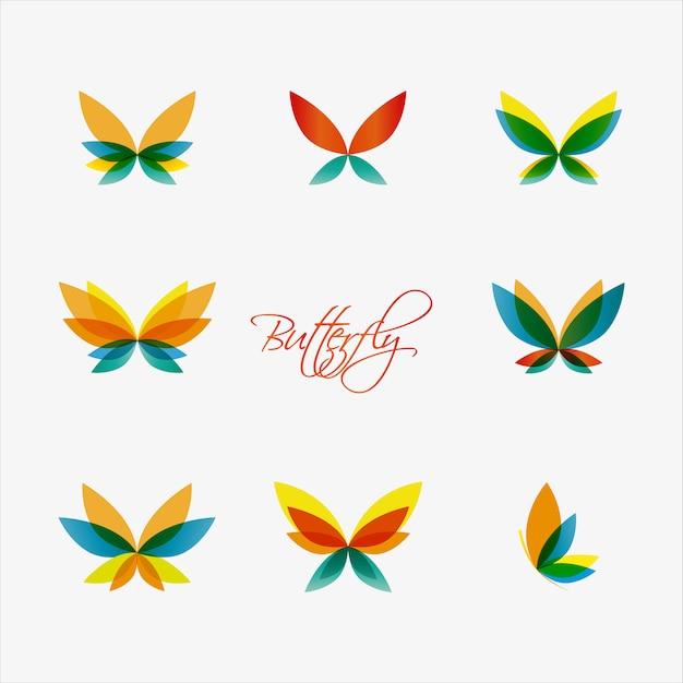 Logotipos de borboletas coloridas. Vetor Premium