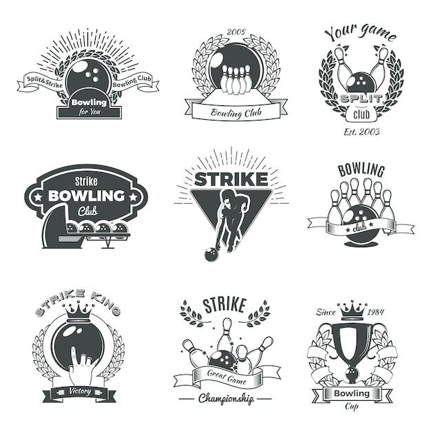 Logotipos de bowling monocromático estilo vintage Vetor grátis