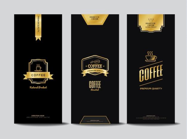 Logotipos de café para embalagem Vetor Premium