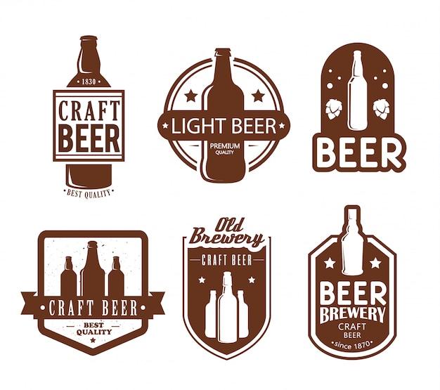 Logotipos de cervejaria e design de emblemas. Vetor grátis