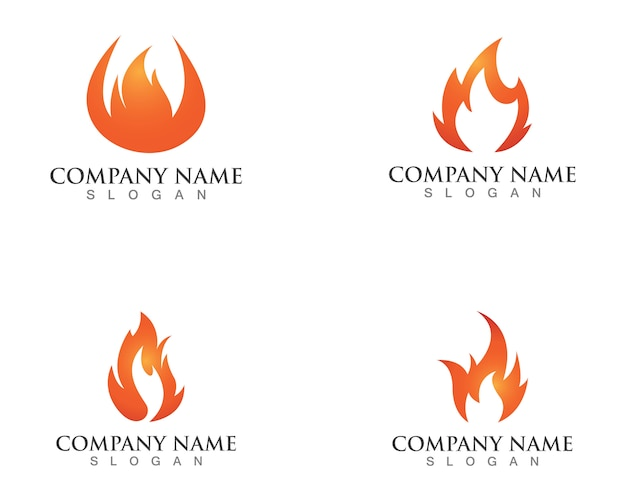 Logotipos de chamas de fogo Vetor Premium