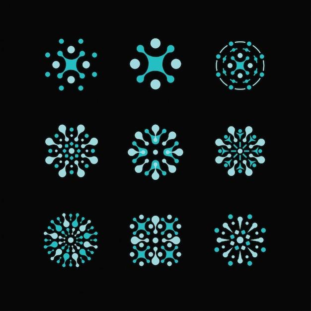 Logotipos de ciência, biologia, física, logotipo de química. identidade de laboratório, logotipos de átomos, células Vetor Premium