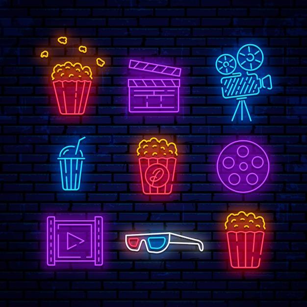Logotipos de cinema neon Vetor Premium
