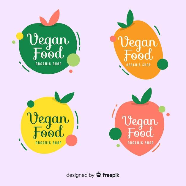 Logotipos de comida saudável Vetor Premium