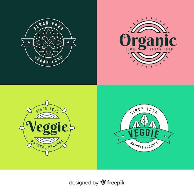 Logotipos de comida saudável Vetor grátis