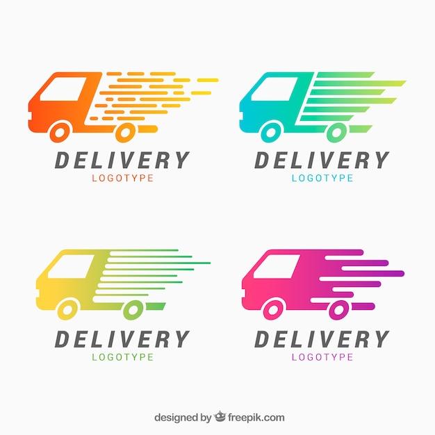 Logotipos de entrega para empresas Vetor grátis