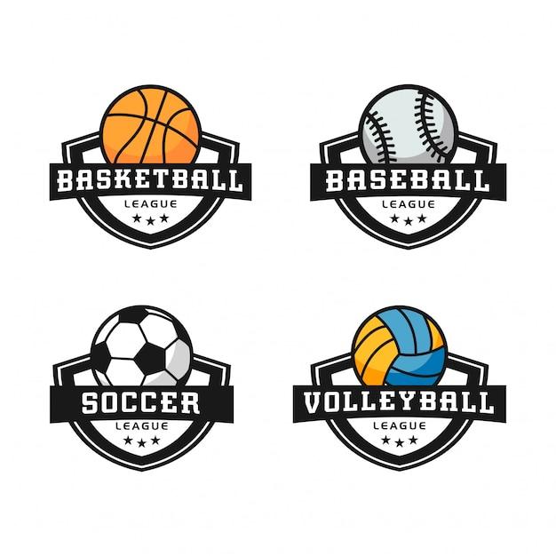 Logotipos de esportes abstratos conjunto moderno Vetor Premium