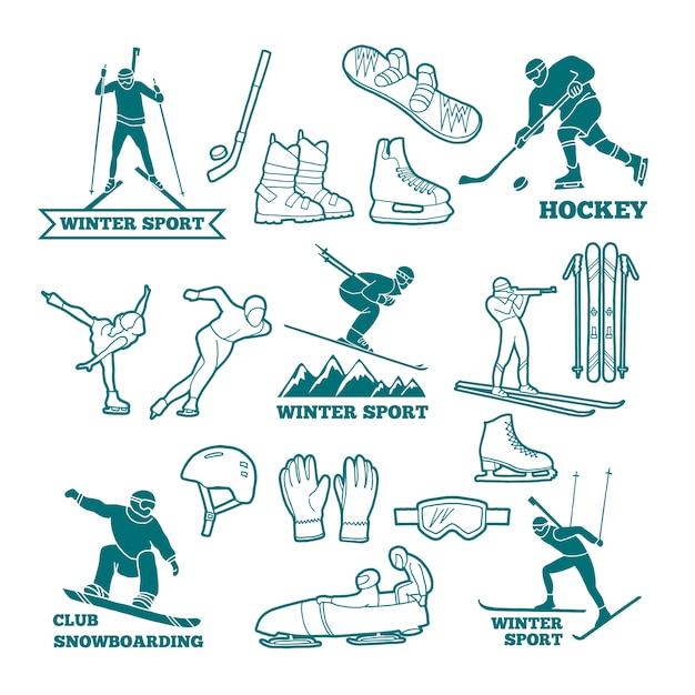 Logotipos de esportes de inverno Vetor Premium