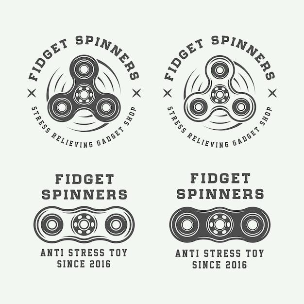 Logotipos de fidget spinners Vetor Premium
