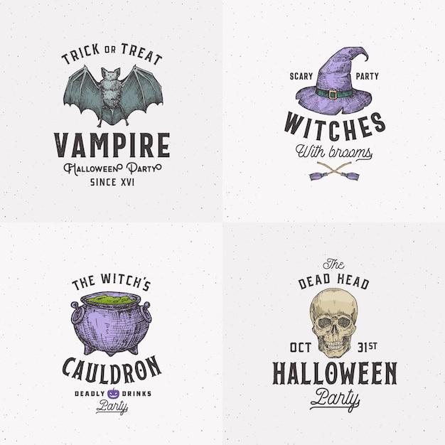 Logotipos de halloween de estilo vintage ou conjunto de modelos de rótulos. mão desenhada bastão vampiro, scull, chapéu de bruxa e coleção de símbolos de esboço do caldeirão. Vetor Premium
