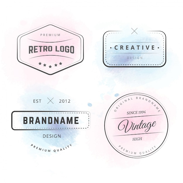 Logotipos de hipster com salpicos de aquarela Vetor grátis