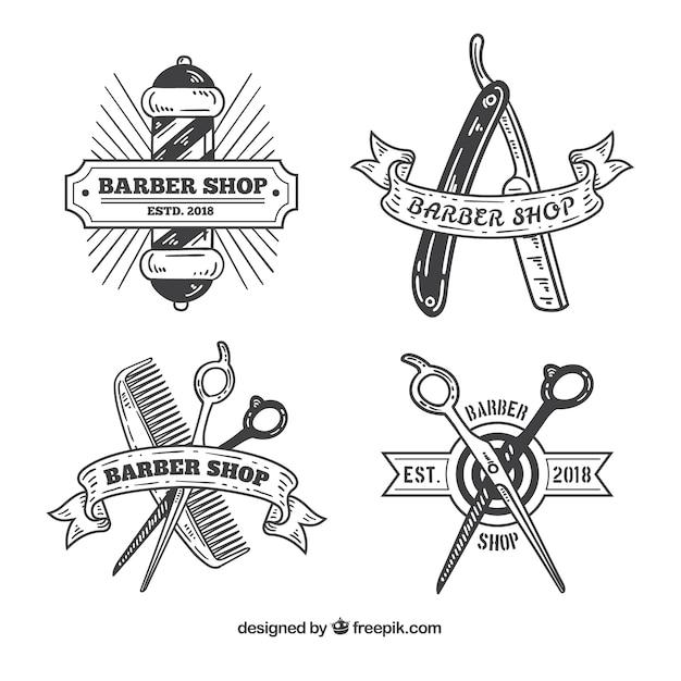 Logotipos de loja de barbeiro vintage Vetor grátis