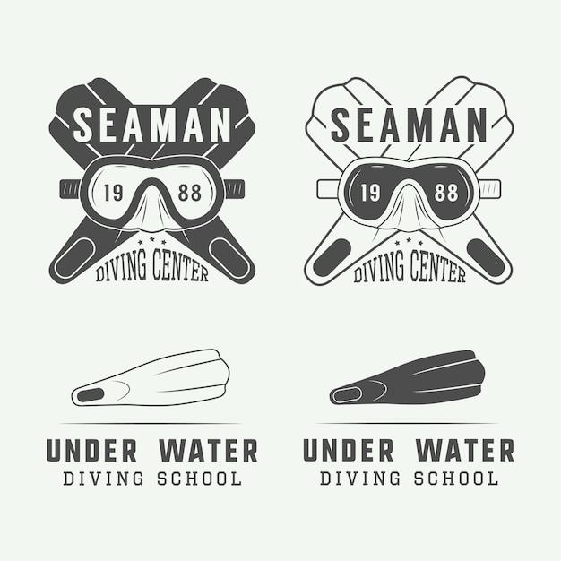 Logotipos de mergulho, rótulos Vetor Premium