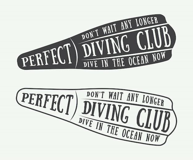 Logotipos de mergulho Vetor Premium