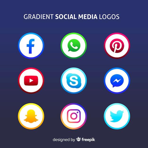 Logotipos de mídia social de gradiente Vetor grátis