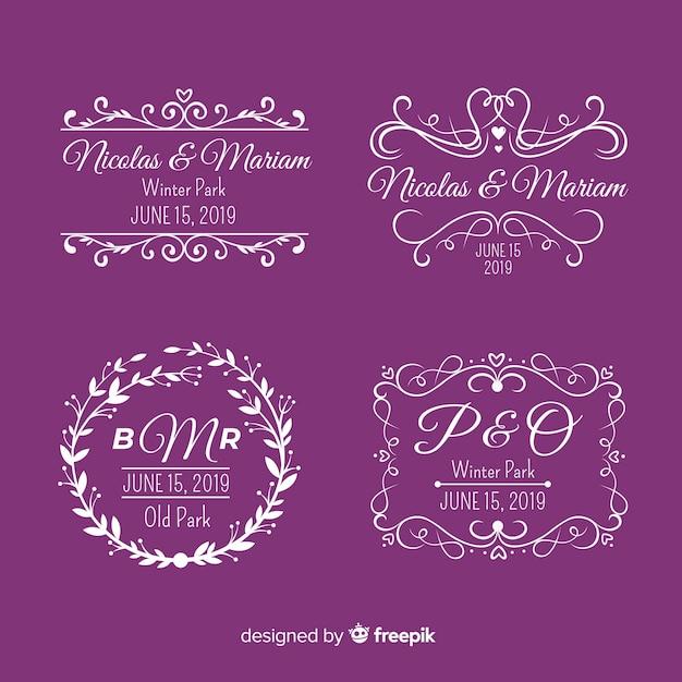 Logotipos de monograma de casamento roxo Vetor grátis