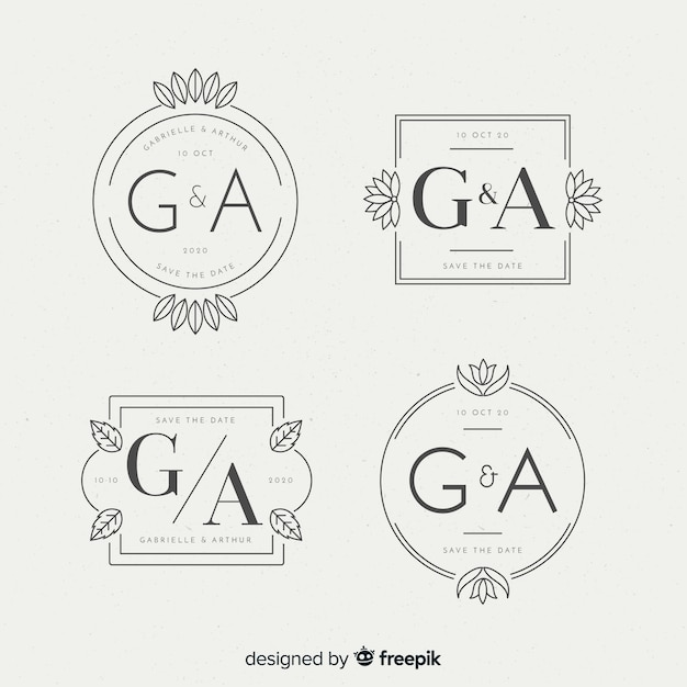 Logotipos de monograma lindo casamento Vetor grátis