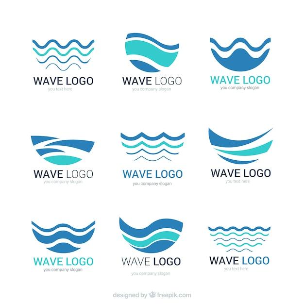 Logotipos de onda abstratos Vetor grátis