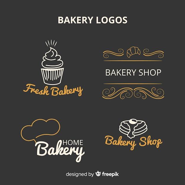 Logotipos de padaria de arte de linha Vetor grátis