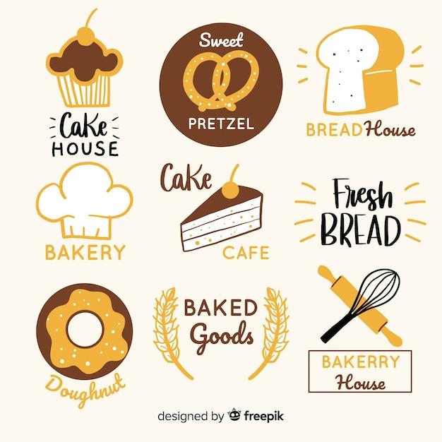 Logotipos de padaria desenhada de mão Vetor grátis