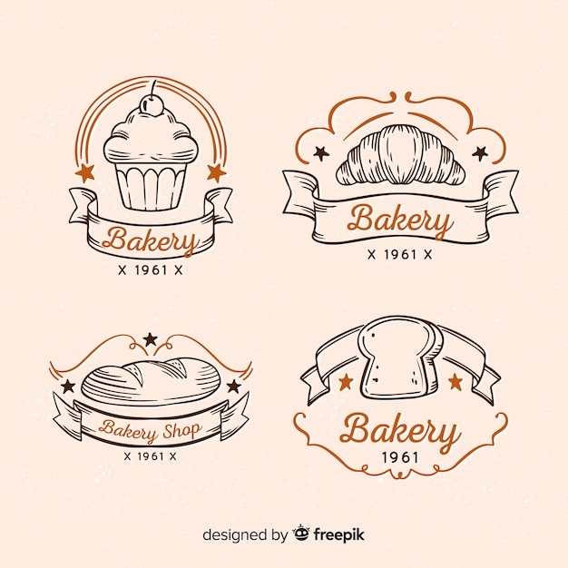 Logotipos de padaria vintage Vetor grátis