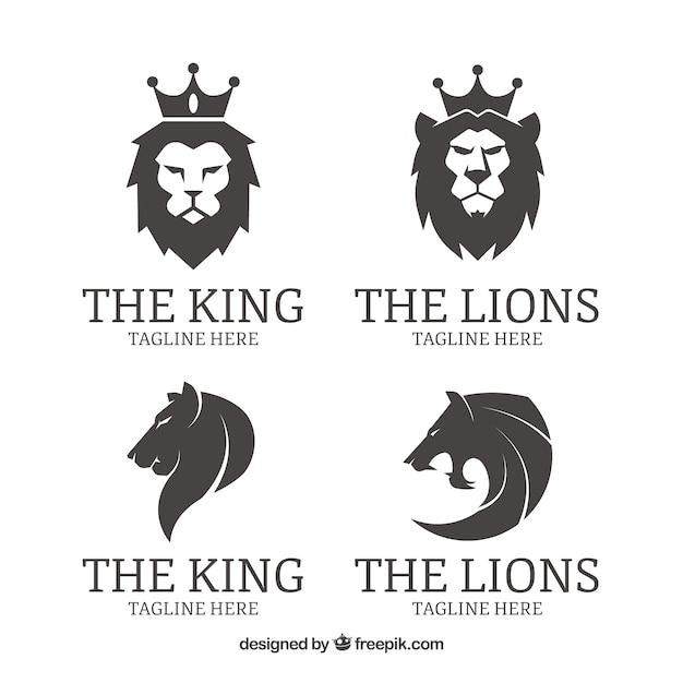 Logotipos de quatro leões, preto e branco Vetor grátis