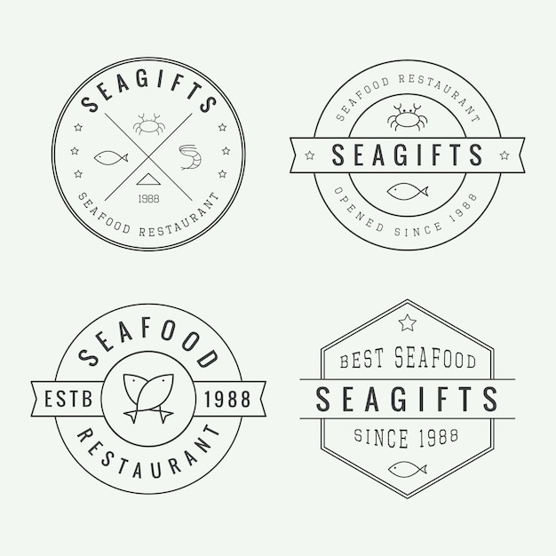 Logotipos de restaurante de frutos do mar Vetor Premium