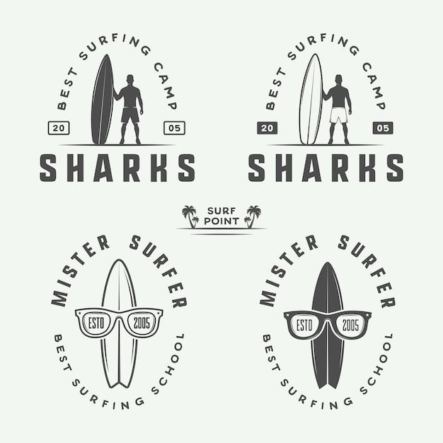 Logotipos de surf, emblemas, distintivos Vetor Premium