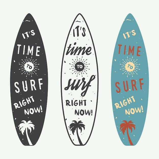 Logotipos de surf Vetor Premium