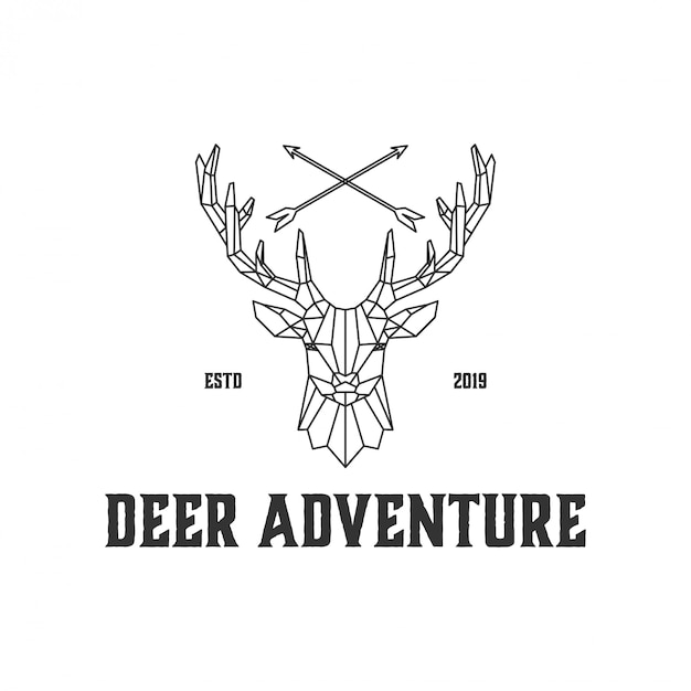Logotipos de veado de arte de linha para caçadores e o selvagem Vetor Premium
