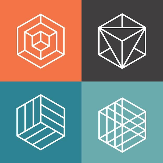Logotipos de vetor de hexágono em estilo linear de estrutura de tópicos. hexágono do logotipo, hexágono abstrato, ilustração geométrica do hexágono do logotipo Vetor grátis