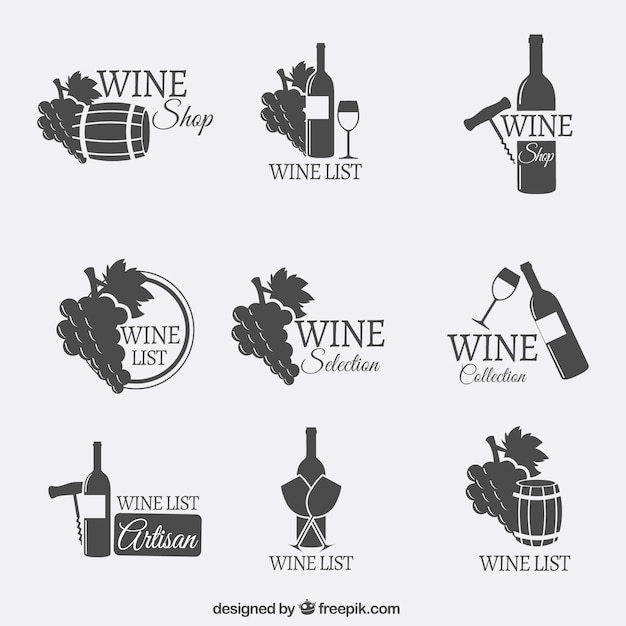 Logotipos de vinho Vetor grátis