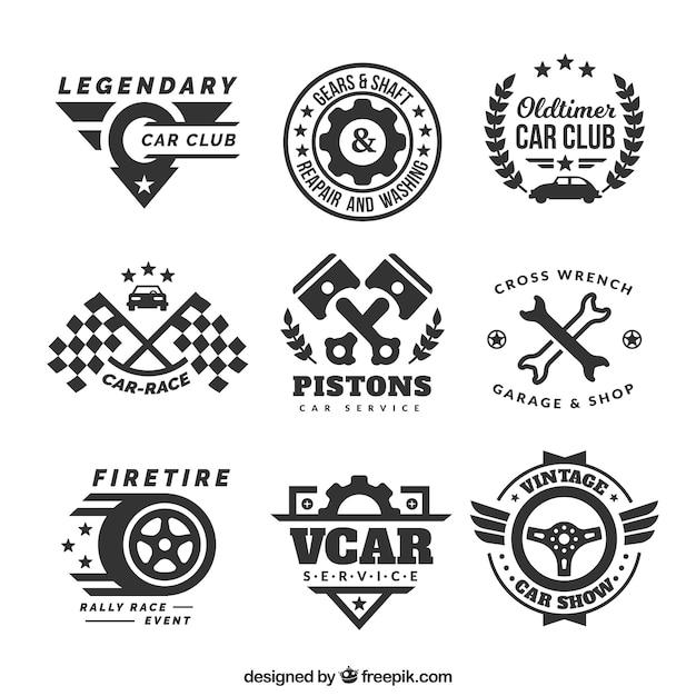 Logotipos decorativos com elementos de carro Vetor grátis